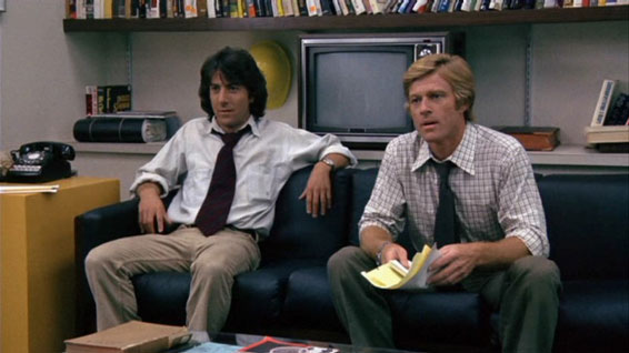 Dustin Hoffman en Robert Red- ford als Carl Bernstein en Bob Wood- ward in All the President?s men.